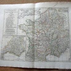 Arte: GRAN MAPA DE FRANCIA ANTIGUA, 1794. ANVILLE/ LAURIE & WHITTLE. Lote 55981800