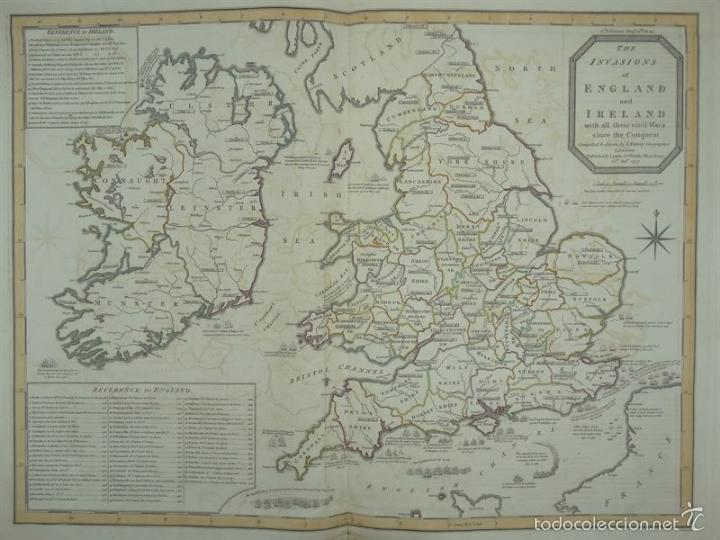 GAN MAPA DE IRLANDA E INGLATERRA, 1801. J.ENOUY /LAURIE & WHITTLE) (Arte - Cartografía Antigua (hasta S. XIX))