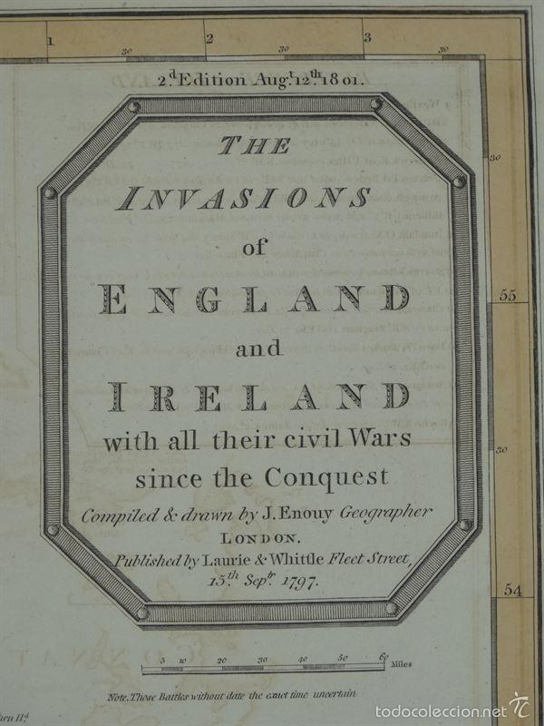 Arte: Gan mapa de Irlanda e Inglaterra, 1801. J.Enouy /Laurie & Whittle) - Foto 2 - 55989055