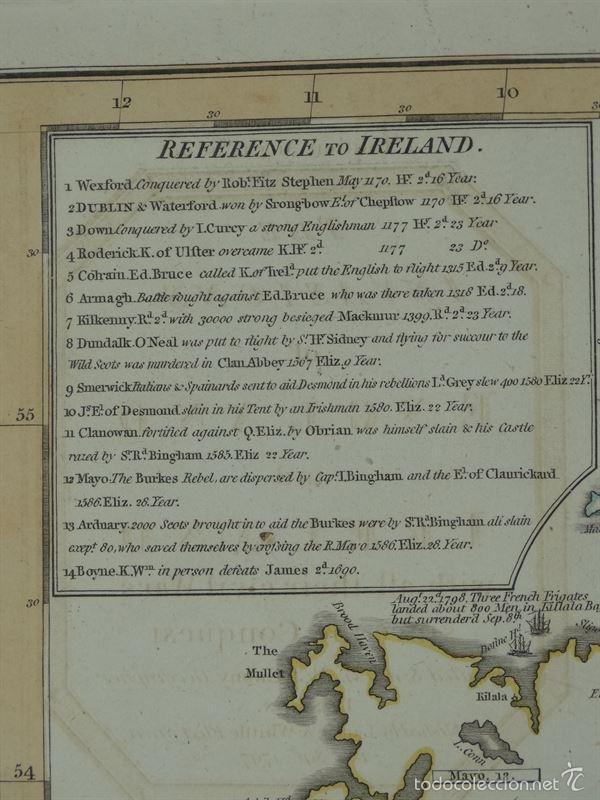 Arte: Gan mapa de Irlanda e Inglaterra, 1801. J.Enouy /Laurie & Whittle) - Foto 4 - 55989055