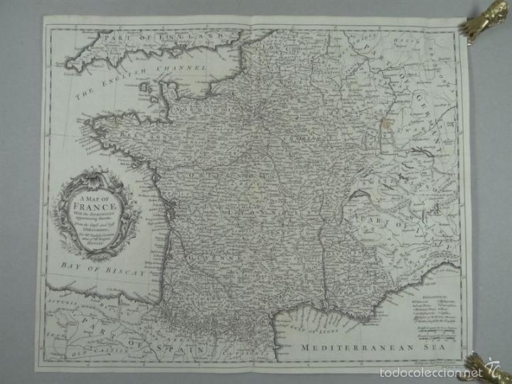 MAPA DE FRANCIA, 1740. RAPIN/TINDAL/SEALE (Arte - Cartografía Antigua (hasta S. XIX))