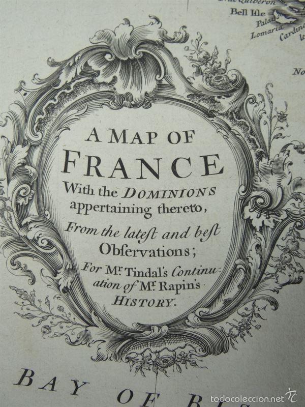Arte: Mapa de Francia, 1740. Rapin/Tindal/Seale - Foto 2 - 56085668