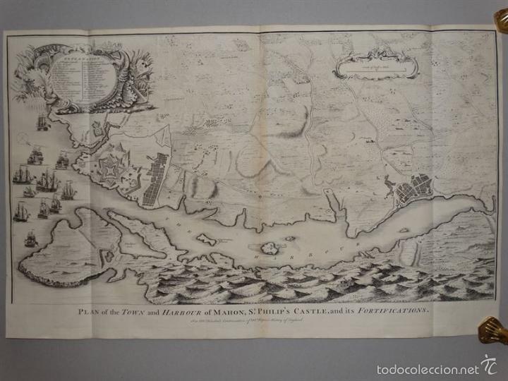 PLANO DE LA CIUDAD Y EL PUERTO DE MAHON (MENORCA, BALEARES, ESPAÑA), 1744. TINDAL/RAPIN/SEALE (Arte - Cartografía Antigua (hasta S. XIX))