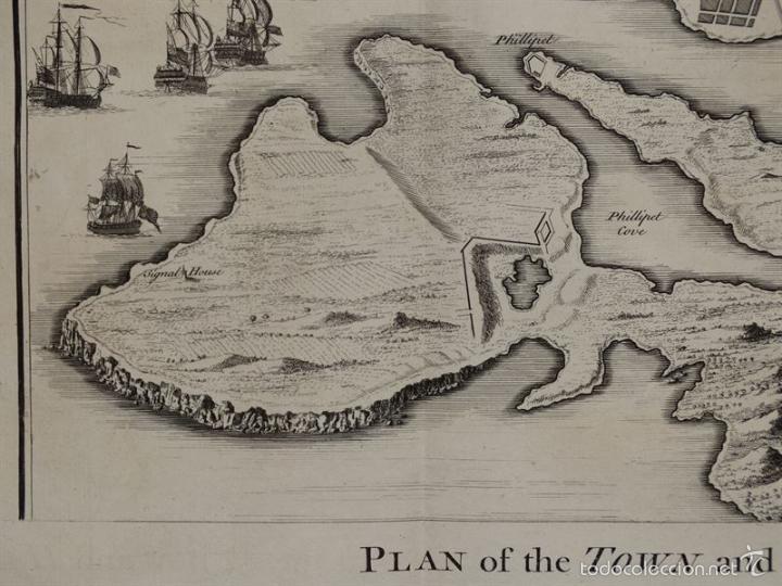 Arte: Plano de la ciudad y el puerto de Mahon (Menorca, Baleares, España), 1744. Tindal/Rapin/Seale - Foto 2 - 56085856