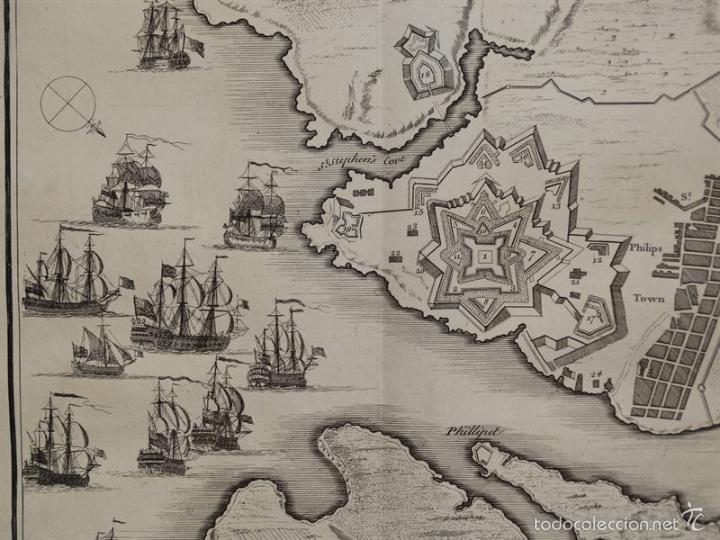Arte: Plano de la ciudad y el puerto de Mahon (Menorca, Baleares, España), 1744. Tindal/Rapin/Seale - Foto 3 - 56085856