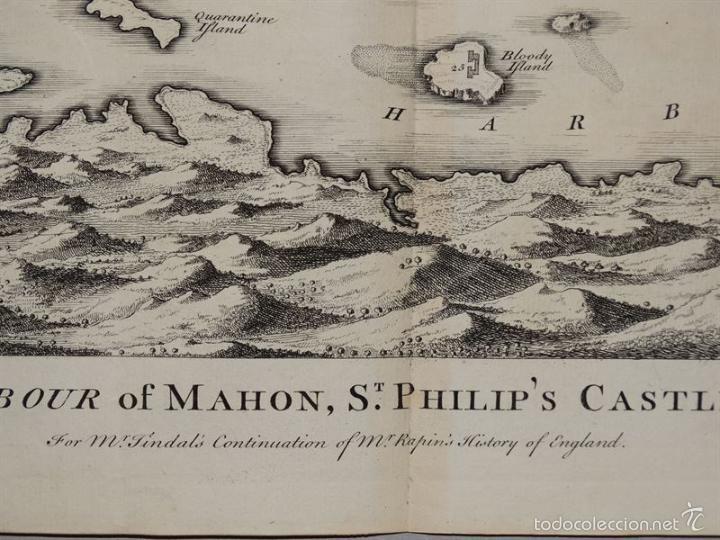 Arte: Plano de la ciudad y el puerto de Mahon (Menorca, Baleares, España), 1744. Tindal/Rapin/Seale - Foto 8 - 56085856