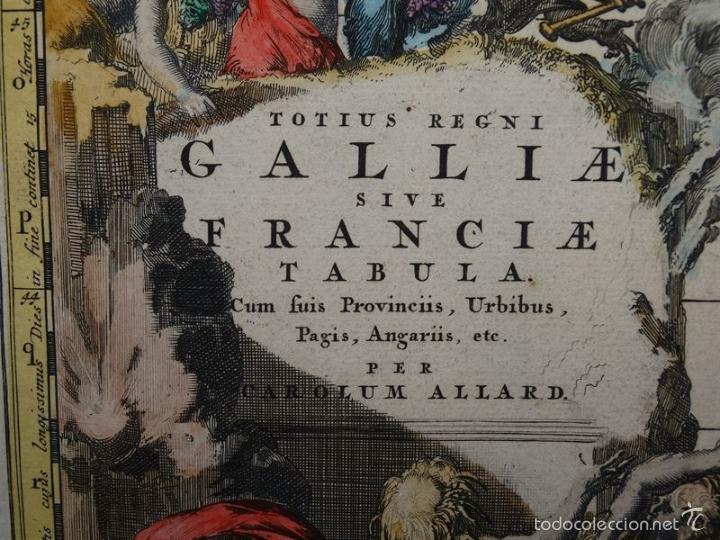 Arte: Gran mapa de Francia, 1660. Carolus Allard - Foto 2 - 56125201