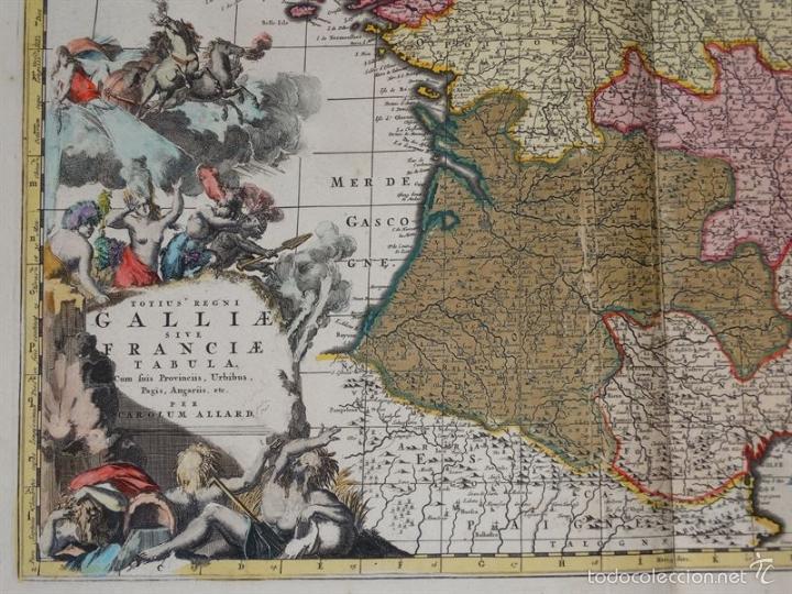 Arte: Gran mapa de Francia, 1660. Carolus Allard - Foto 3 - 56125201