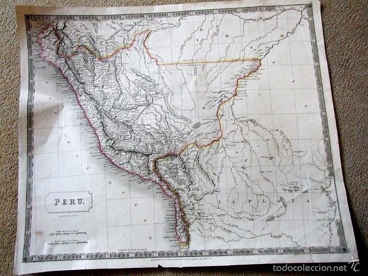 GRAN MAPA DE PERÚ (AMÉRICA DEL SUR), 1828. SIDNEY HALL (Arte - Cartografía Antigua (hasta S. XIX))