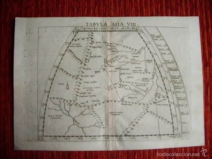 1590-MAPA ASIA CENTRAL. BASADO EN LOS MAPAS DE PTOLOMEO. IMPRESO EN ITALIA. ORIGINAL (Arte - Cartografía Antigua (hasta S. XIX))