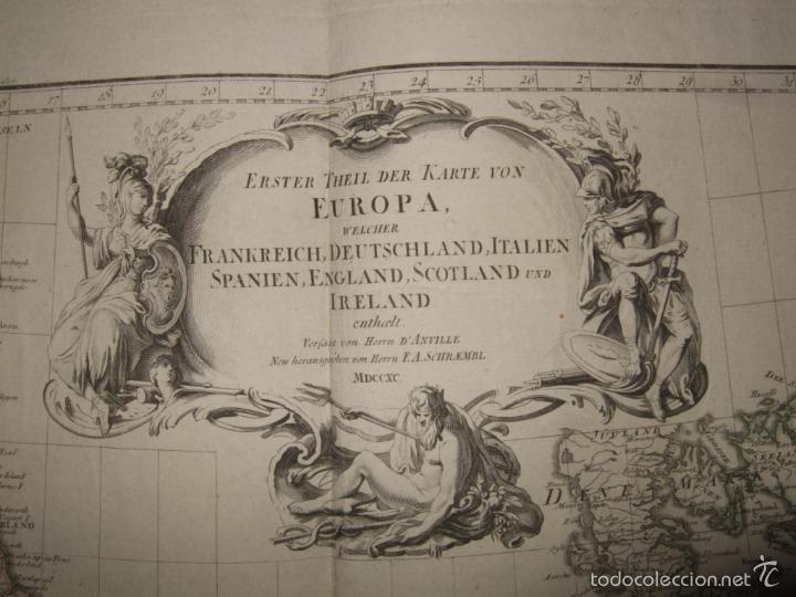Arte: Dos grandes mapas de Europa occidental, 1790. DAnville/Schraembl - Foto 4 - 56205219