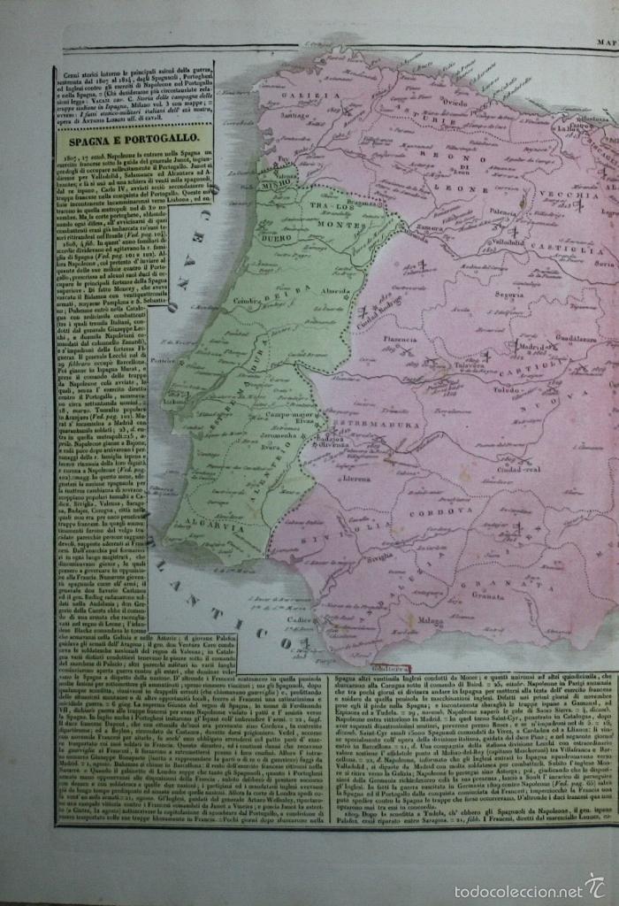 Arte: Mapa de España y Portugal, 1827. G. Tasso/Le Lage - Foto 2 - 56209336