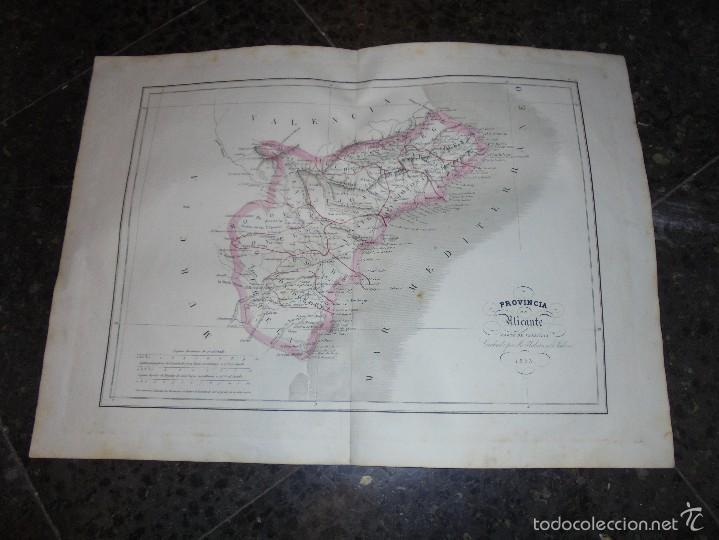 ANTIGUO MAPA PROVINCIA DE ALICANTE 1853 GRABADO POR R. ALABERN Y E. MABON GRABADO ORIGINAL (Arte - Cartografía Antigua (hasta S. XIX))