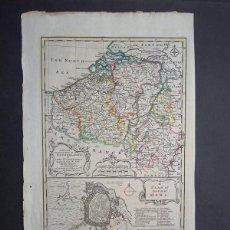 Arte: MAPA DE LOS PAÍSES BAJOS, 1750. BOWEN. Lote 56389567