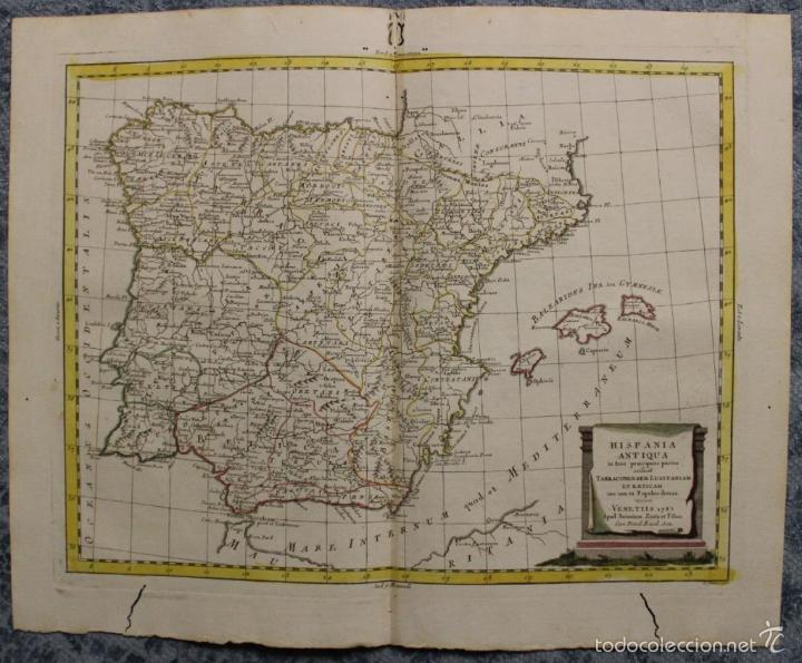 MAPA DE ESPAÑA Y PORTUGAL ANTIGUOS, 1785. ZATTA (Arte - Cartografía Antigua (hasta S. XIX))