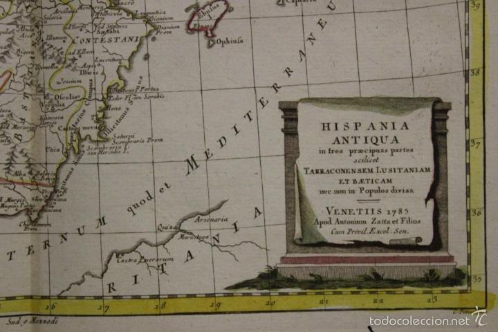 Arte: Mapa de España y Portugal antiguos, 1785. Zatta - Foto 2 - 56486554