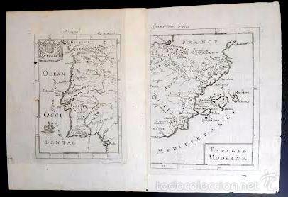 Arte: Mapa antiguo España año 1719 con certif. de autenticidad. Mapas antiguos España general - Foto 2 - 56647016