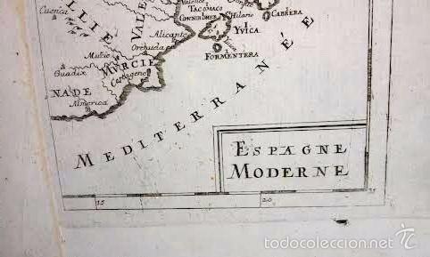 Arte: Mapa antiguo España año 1719 con certif. de autenticidad. Mapas antiguos España general - Foto 4 - 56647016