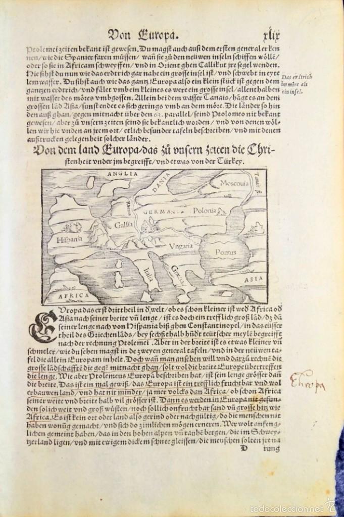 Arte: Mapa antiguo Europa Munster año 1558 con certificado autenticidad. Mapas antiguos Europa - Foto 2 - 56647895