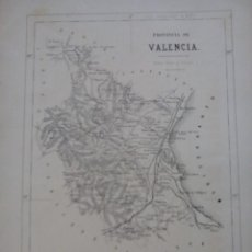 Arte: ANTIGUO MAPA DE LA PROVINCIA DE VALENCIA (1867). Lote 56667946