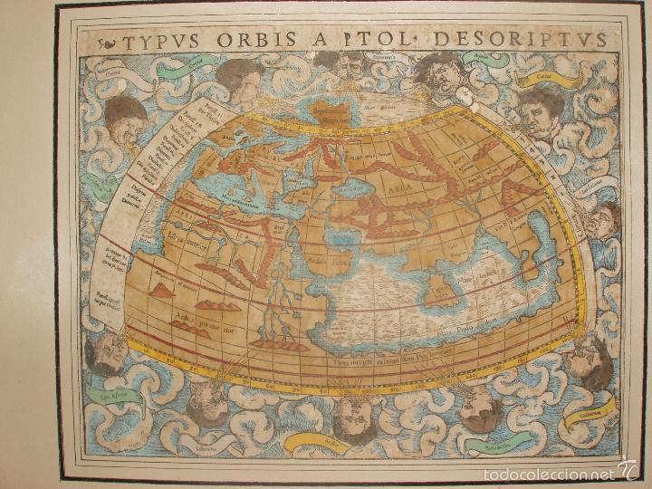 ANTIGUO MAPA DEL MUNDO. TIPVS ORBIS A PTOL. DESORIPTVS. BASILEA 1540-1548. ORIGINAL. (Arte - Cartografía Antigua (hasta S. XIX))