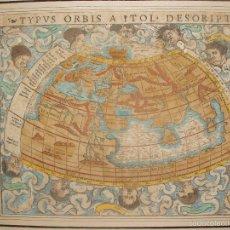 Arte: ANTIGUO MAPA DEL MUNDO. TIPVS ORBIS A PTOL. DESORIPTVS. BASILEA 1540-1548. ORIGINAL.. Lote 56827276