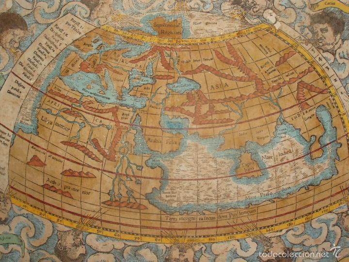 Arte: ANTIGUO MAPA DEL MUNDO. TIPVS ORBIS A PTOL. DESORIPTVS. BASILEA 1540-1548. ORIGINAL. - Foto 2 - 56827276