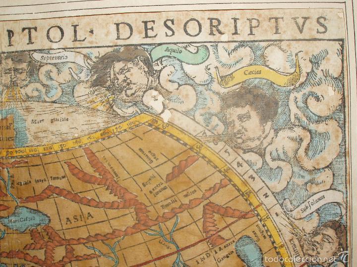 Arte: ANTIGUO MAPA DEL MUNDO. TIPVS ORBIS A PTOL. DESORIPTVS. BASILEA 1540-1548. ORIGINAL. - Foto 3 - 56827276