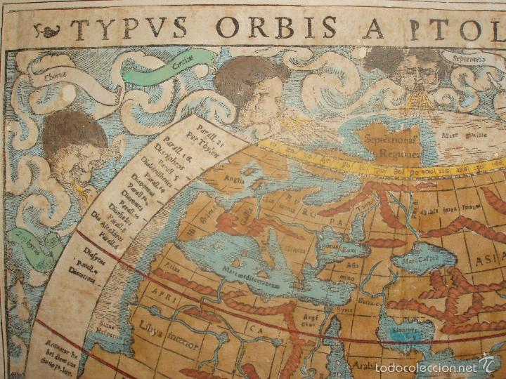 Arte: ANTIGUO MAPA DEL MUNDO. TIPVS ORBIS A PTOL. DESORIPTVS. BASILEA 1540-1548. ORIGINAL. - Foto 6 - 56827276