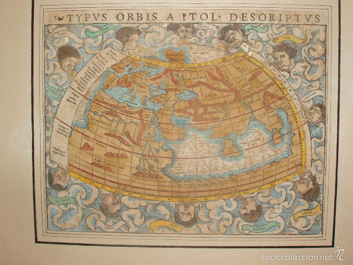 Arte: ANTIGUO MAPA DEL MUNDO. TIPVS ORBIS A PTOL. DESORIPTVS. BASILEA 1540-1548. ORIGINAL. - Foto 8 - 56827276