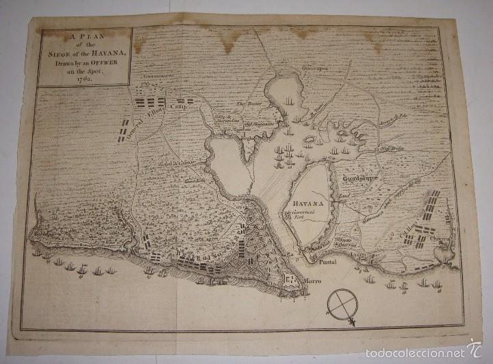 GRABADO PLAN DE ASEDIO DE CUBA. 1762. PLAN OF THE SIEGE OF THE HAVANA, DRAWN BY OFFICER ON THE SPOT. (Arte - Cartografía Antigua (hasta S. XIX))