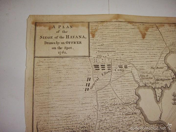 Arte: Grabado Plan de Asedio de Cuba. 1762. Plan of the Siege of the Havana, Drawn by Officer on the spot. - Foto 3 - 56910928