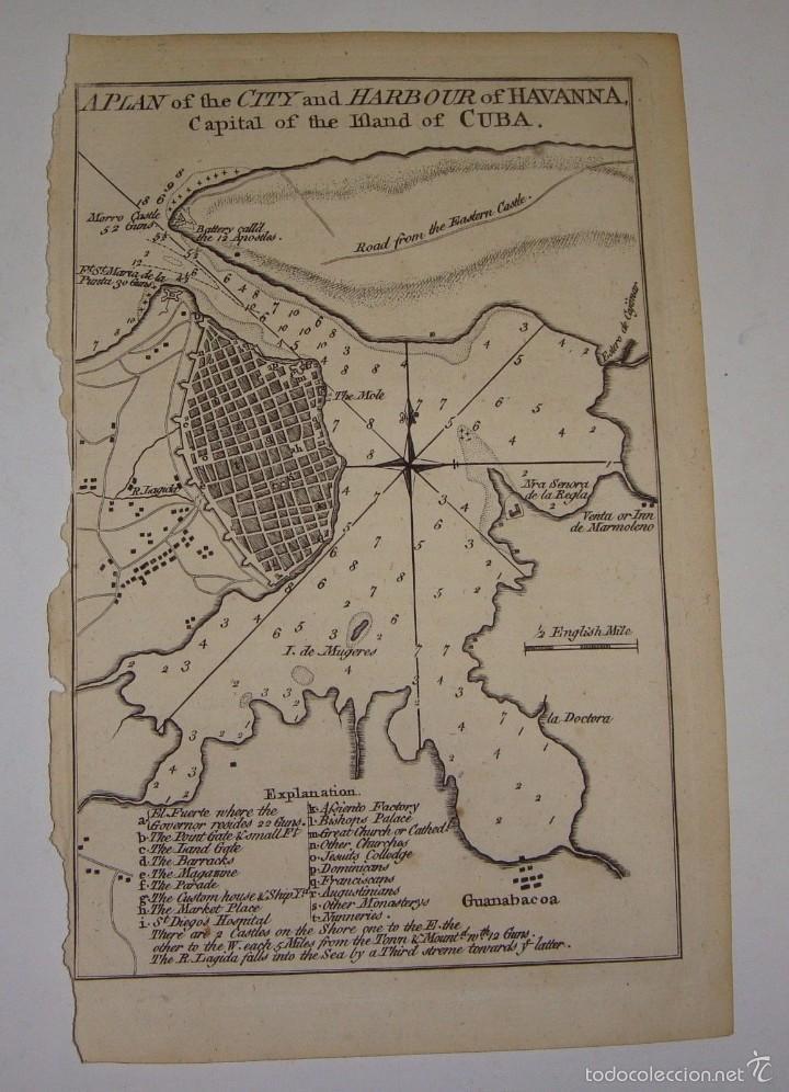 GRABADO DEL S.XVIII. PLANO DE LA CIUDAD Y PUERTO DE CUBA. 1762 (Arte - Cartografía Antigua (hasta S. XIX))