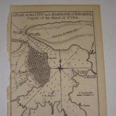 Arte: GRABADO DEL S.XVIII. PLANO DE LA CIUDAD Y PUERTO DE CUBA. 1762. Lote 56911495