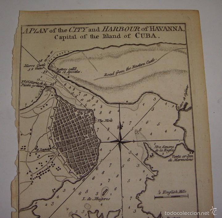 Arte: Grabado del S.XVIII. Plano de la Ciudad y Puerto de Cuba. 1762 - Foto 2 - 56911495