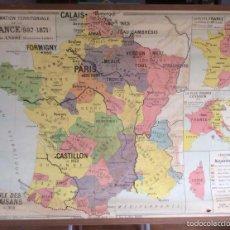 Arte: ANTIGUO MAPA DE ESCUELA LA FORMATION TERRITORIALE DE FRANCE ( 987-1871 )POR LOUIS ANDRÉ 1,32 X 1,02. Lote 56917272