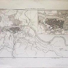 Arte: PLAN DE SARAGOSSE.1864. LITOGRAFÍA DE LOS DIFERENTES ATAQUES A LA CIUDAD (SITIOS DE ZARAGOZA). Lote 57006326