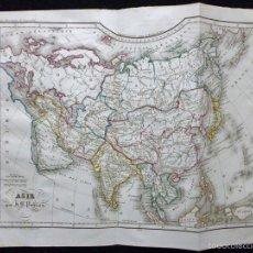 Arte: MAPA DE ASIA POR J. B. POIRSON, GRABADO AL ACERO, COLOREADO A MANO, C. 1830. CARTOGRAFÍA, POLÍTICO. Lote 57130953