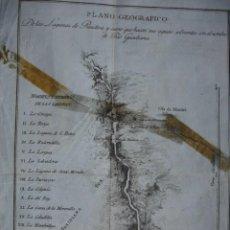 Arte: PLANO GEOGRAFICO DE LAS LAGUNAS DE RUIDERA Y CURSO QUE HACEN..PARET Y ALCAZAR .AÑO 1798 CIUDAD REAL. Lote 57255068