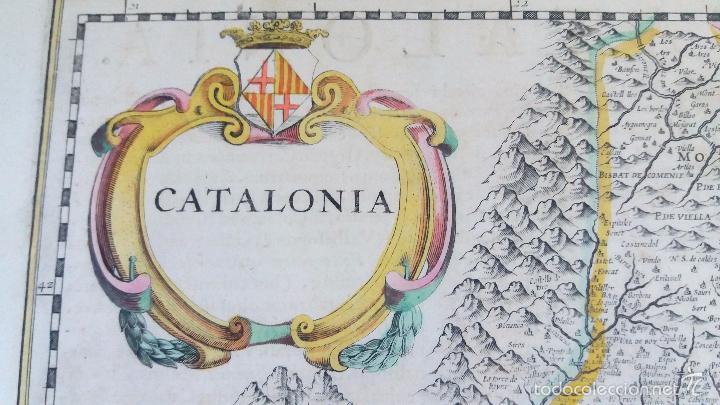 Arte: Mapa antiguo de Cataluña de 1638 Jansonius/Hondius con certif. autentic. Mapas antiguos Cataluña - Foto 2 - 147326914