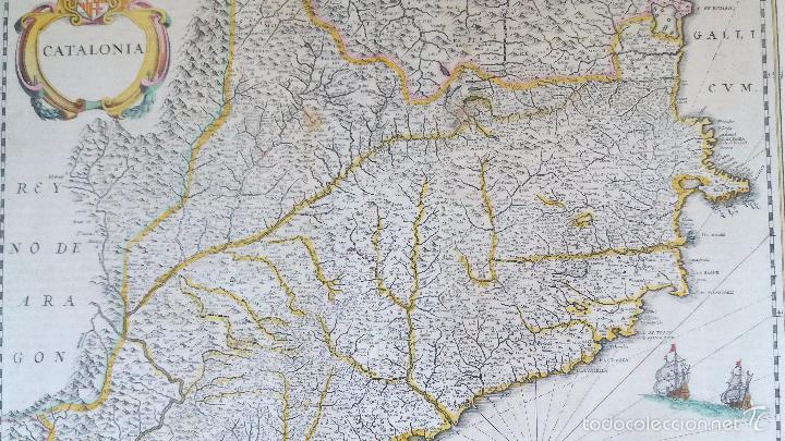 Arte: Mapa antiguo de Cataluña de 1638 Jansonius/Hondius con certif. autentic. Mapas antiguos Cataluña - Foto 3 - 147326914