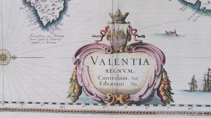 Arte: Mapa antiguo Valencia de Blaeu año 1640 con certificado autentic. Mapas antiguos reino Valencia - Foto 4 - 53959266