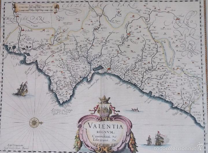 Arte: Mapa antiguo Valencia de Blaeu año 1640 con certificado autentic. Mapas antiguos reino Valencia - Foto 5 - 53959266
