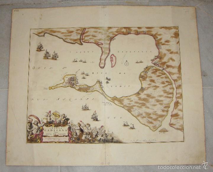 MAPA DE CADIZ. 1670. FREDERIK DE WIT. INSULA GADITANA VULGO ISLA DE CÁDIZ. (Arte - Cartografía Antigua (hasta S. XIX))