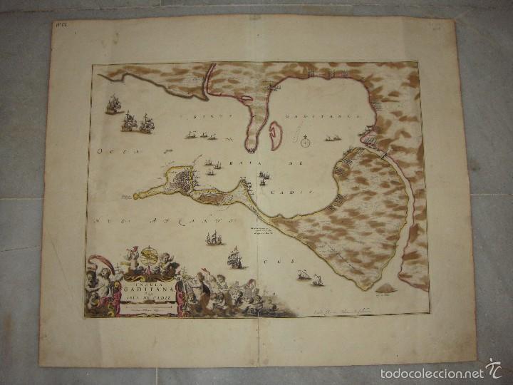 Arte: Mapa de Cadiz. 1670. Frederik de Wit. Insula Gaditana vulgo Isla de Cádiz. - Foto 2 - 58197861