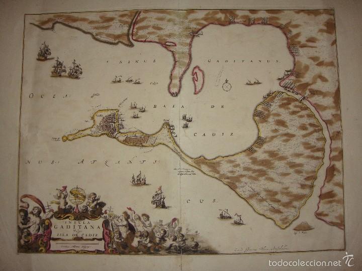 Arte: Mapa de Cadiz. 1670. Frederik de Wit. Insula Gaditana vulgo Isla de Cádiz. - Foto 3 - 58197861