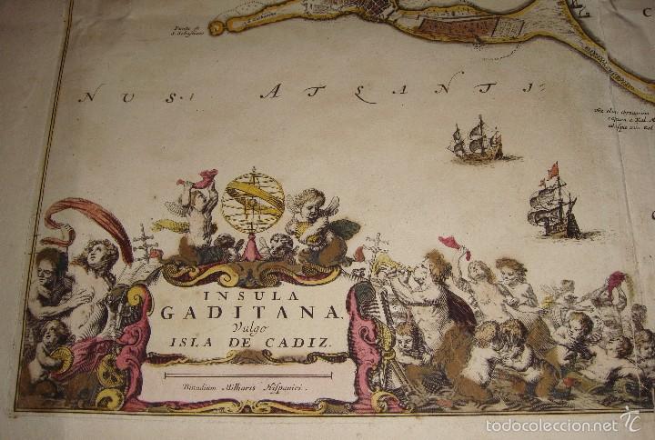 Arte: Mapa de Cadiz. 1670. Frederik de Wit. Insula Gaditana vulgo Isla de Cádiz. - Foto 4 - 58197861