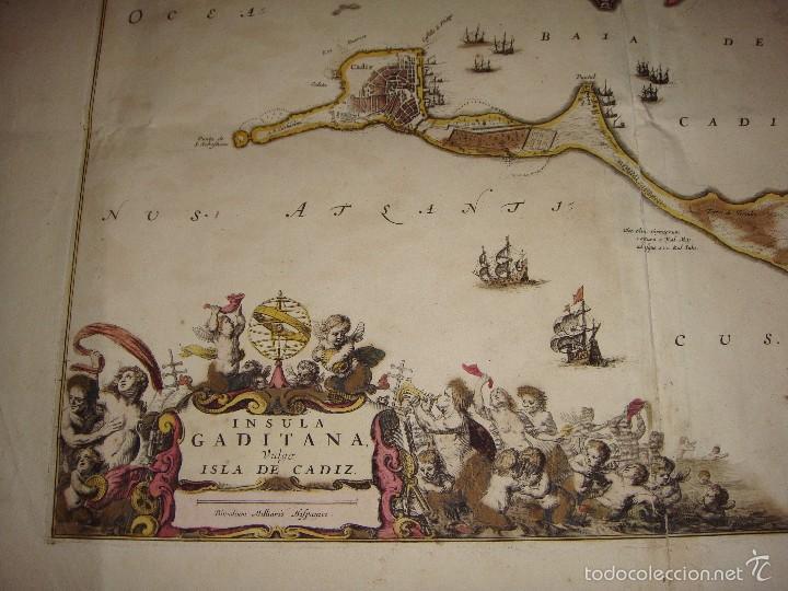 Arte: Mapa de Cadiz. 1670. Frederik de Wit. Insula Gaditana vulgo Isla de Cádiz. - Foto 5 - 58197861