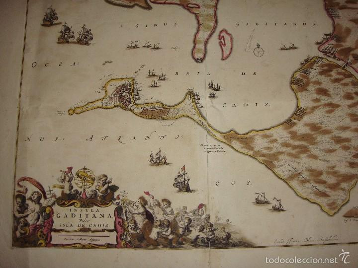 Arte: Mapa de Cadiz. 1670. Frederik de Wit. Insula Gaditana vulgo Isla de Cádiz. - Foto 6 - 58197861