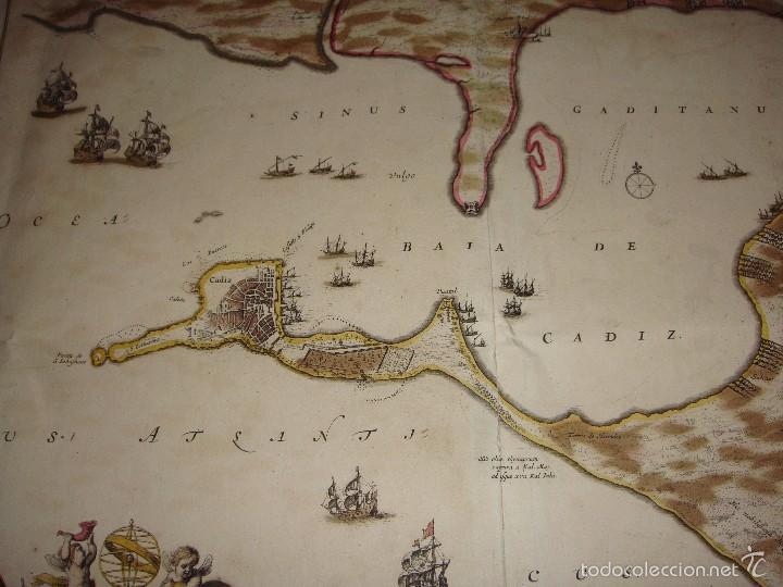 Arte: Mapa de Cadiz. 1670. Frederik de Wit. Insula Gaditana vulgo Isla de Cádiz. - Foto 7 - 58197861